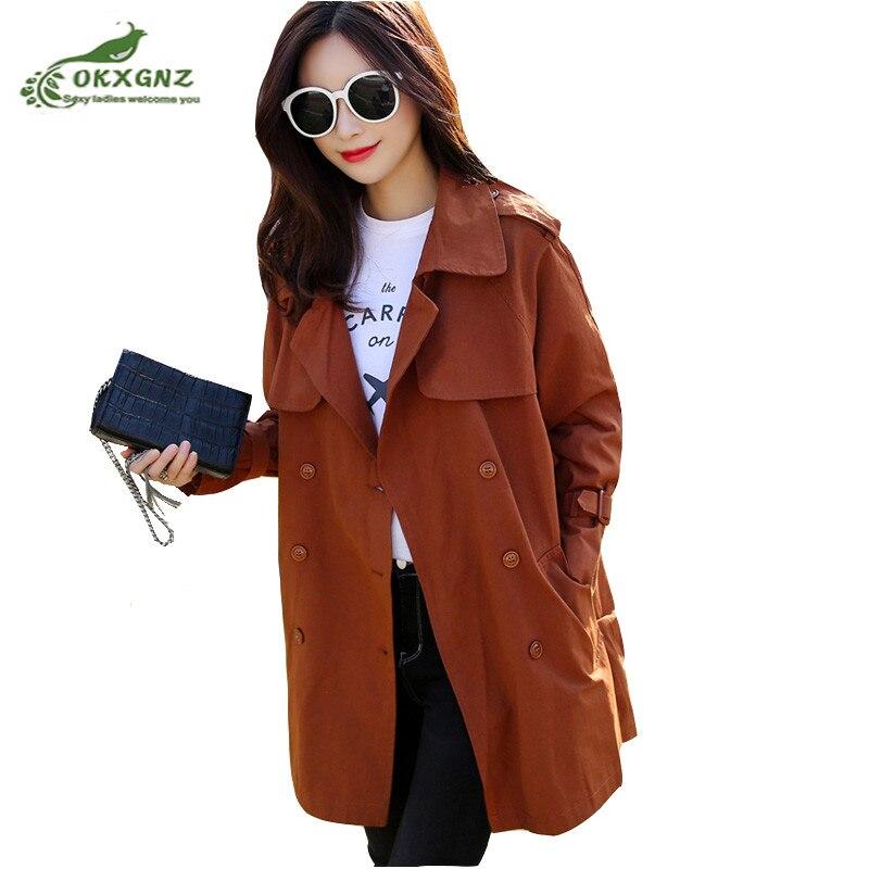 Fashion women windbreaker coat spring new Korean version of the plus size loose jacket coat Female double-breasted OutwearOKXGNZ