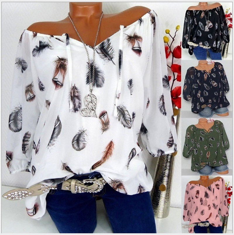 2019 Summer Women Half Sleeve Feather Print V-neck Pullover Tops Shirt Loose Chiffon Blouse Good Quality Plus Size S-5XL
