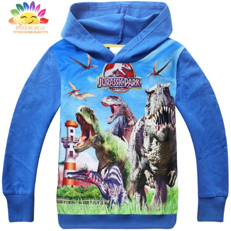 Yingwaaiyi boys hoodies long sleeve kids clothes cotton polyester dinosaur Jurassic World tyrannosaurus rex toddler full sleeve