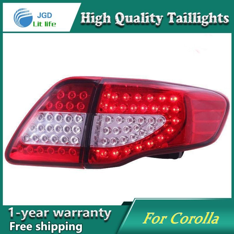 Стайлинга автомобилей Хвост лампа чехол для Toyota Corolla задние фонари 2007 2010 фонари светодиодные задние сзади светодиодные лампы ДРЛ + Тормозна