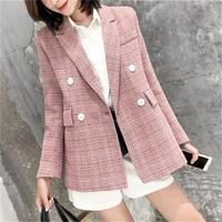 Fashion Pink plaid Blazers Women jacket spring New Mujer Jacket Women Leisure loose Classic Small Suit Female Blazers coat