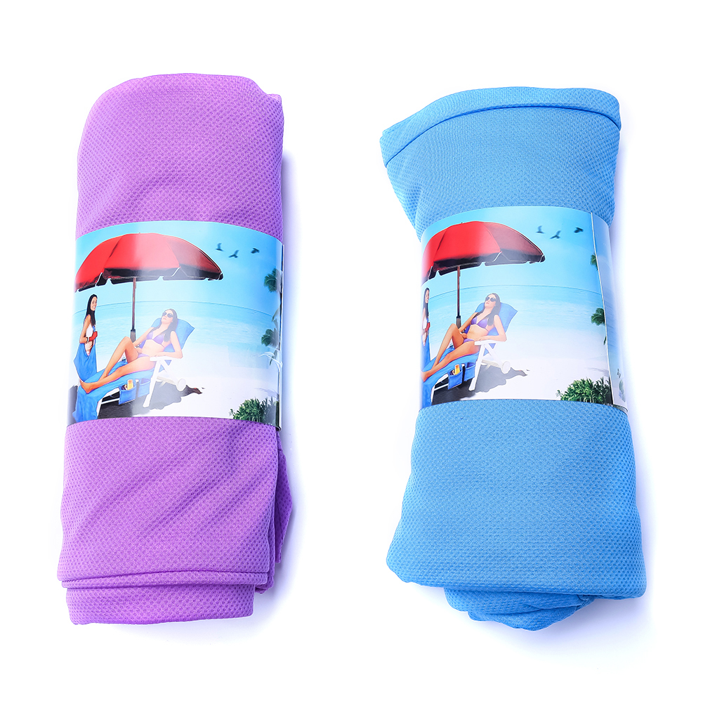 73*210cm Magic Ice Towel Sunbath Lounger Bed Mate Portable Garden Chair Cover Towel Beach Towel With Pockets