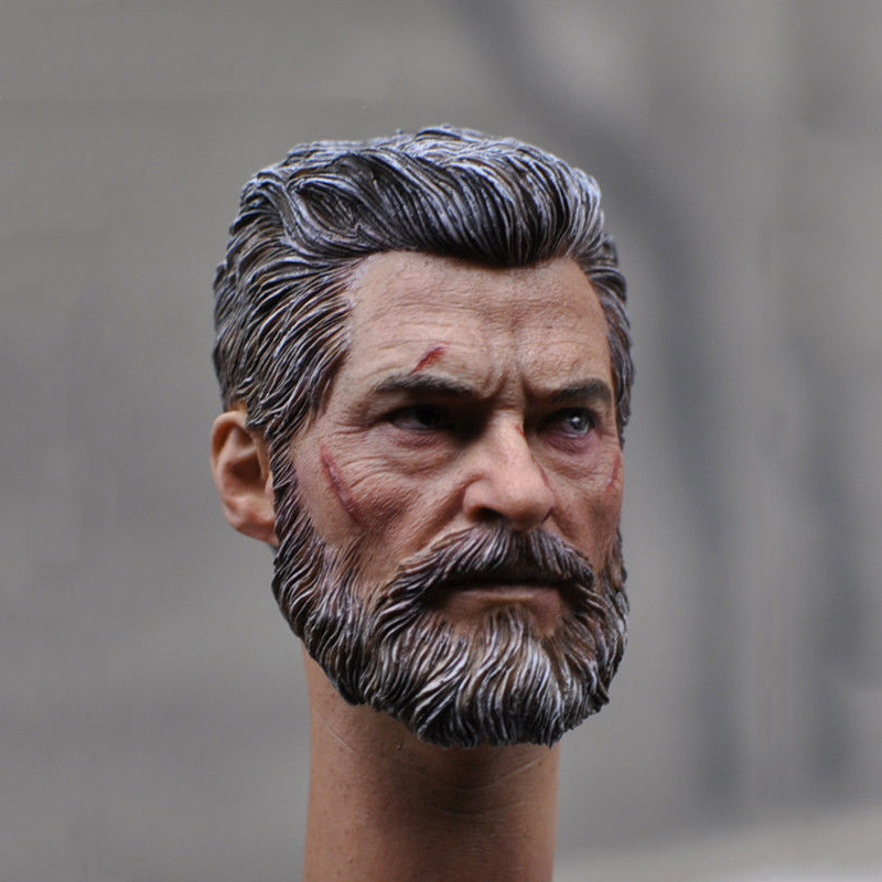 1/6 Scale Male Head Sculpt Wolverine Logan Battle Damage Head Model Hugh Jackman with Neck for 12 Action Figures 1 6 scale male head sculpt old aged wolverine logan for 12 muscular bodies figures gifts toys collections
