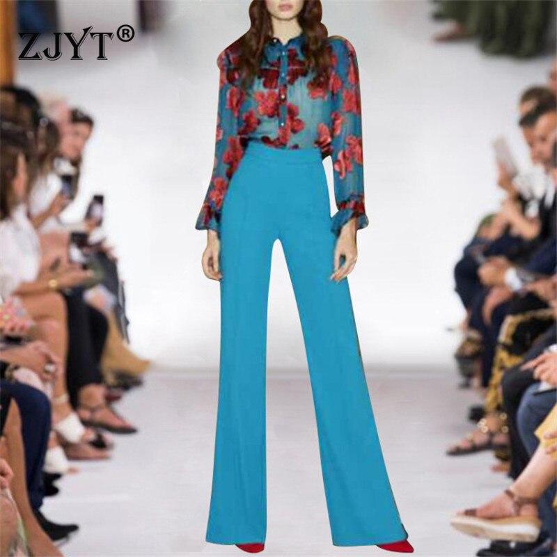 Elegant Lady Runway Suit Pants 2Piece Set Women 2019 Spring Summer Designer Fashion Floral Print Chiffon