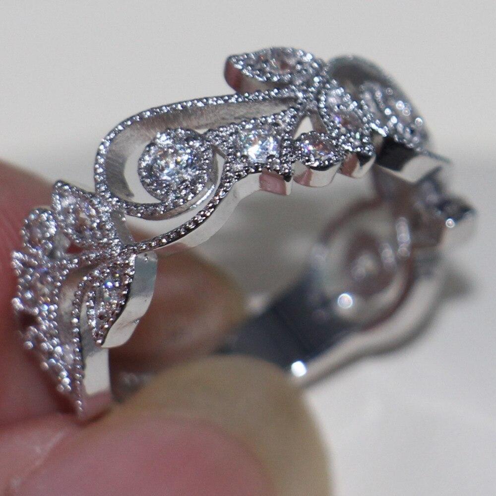 Choucong Wieck Antique bijoux fleur design 925 en argent Sterling simulé pierres de mariage bagues de fiançailles pour l'amour taille 5-11 - 4