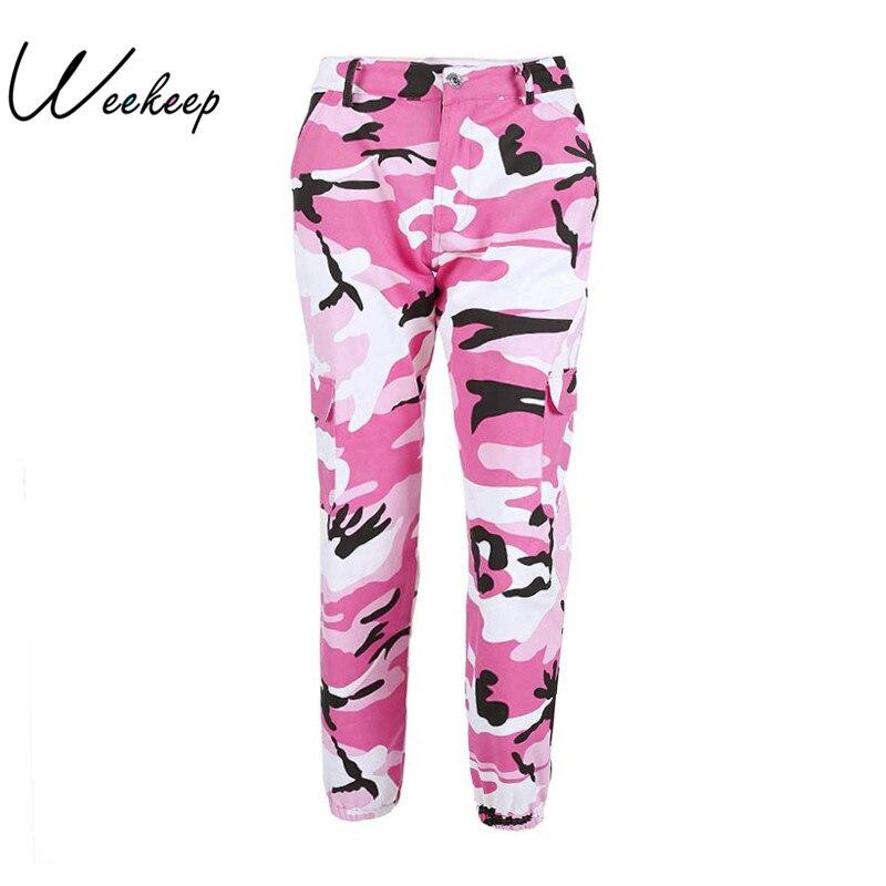 Weekeep Donne 2017 A Vita Alta Demin Pantaloni Mimetici Moda Jean Pantaloni Pantalon Mujer Matita Militare Camo Pantaloni Della Matita