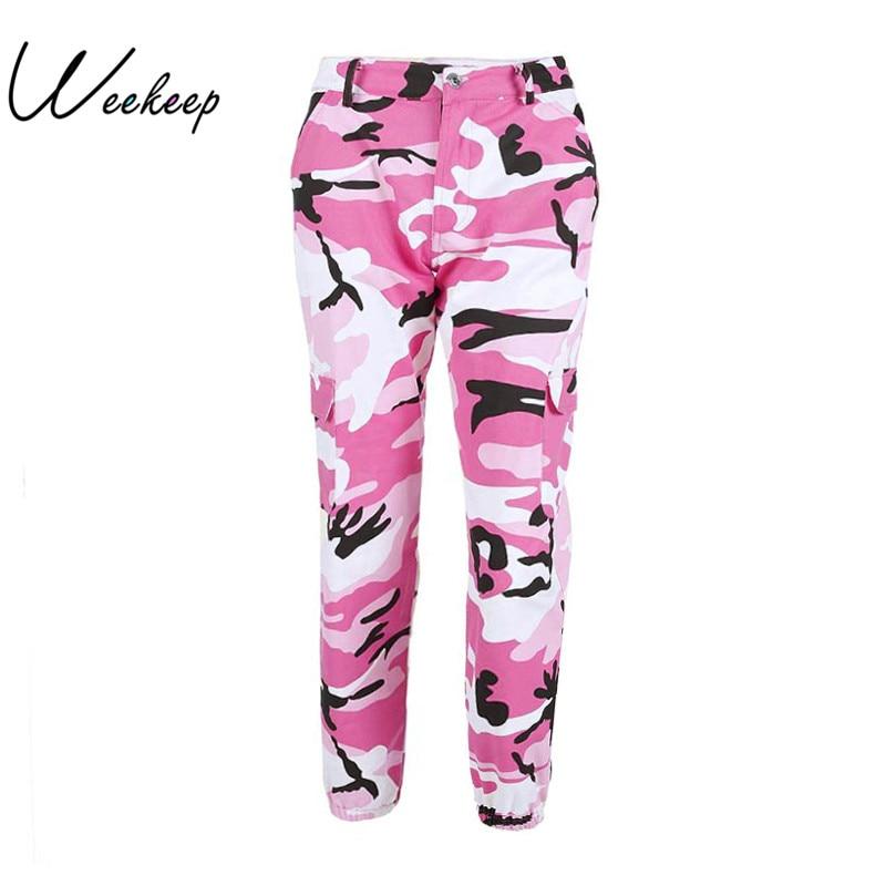 Weekeep Frauen 2017 Hohe Taille Demin Camouflage Hosen Fashion Jean Hosen Pantalon Mujer Bleistift Military Camo Bleistift Hosen