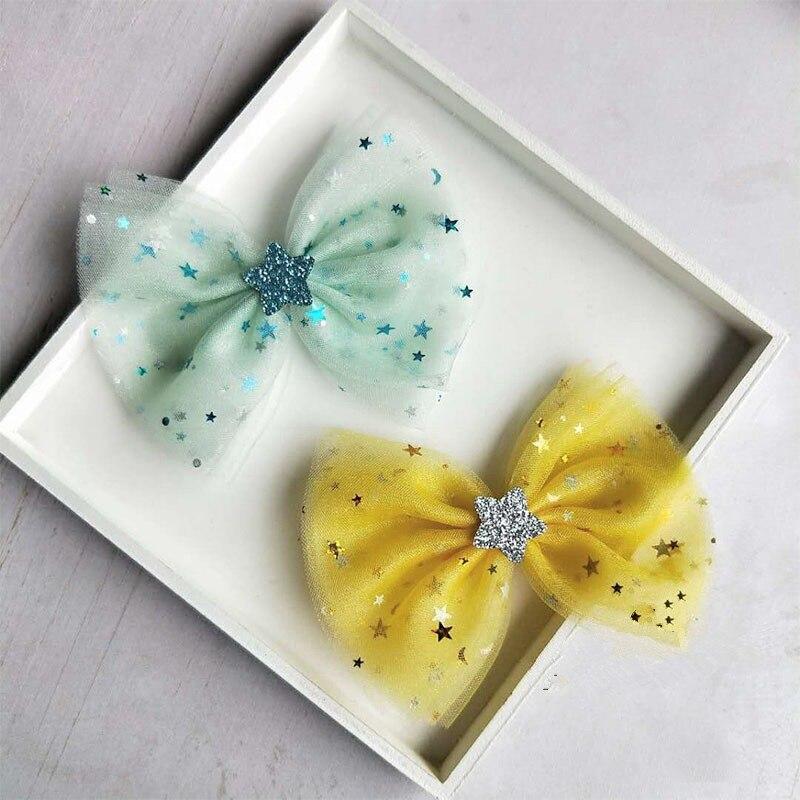 Boutique 30pcs Fashion Cute Hair Bow Tie Hairpins Solid Glitter Star Gauze Bowknot Hair Clips Princess