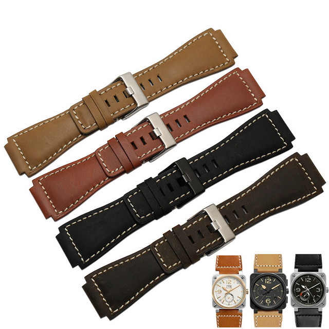 33*24mm Convex End Italian Calfskin Leather Watch Band For Bell Series BR01 BR03