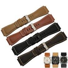 Bracelet de montre en cuir de vachette italien 33*24mm, à extrémité convexe, Bracelet de montre pour la série Bell BR01 BR03, Bracelet de montre en caoutchouc pour hommes