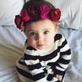 2016 Nova Camisola Meninas Vestir Para Meninas Patrão Estilo tarja Malha Crianças Roupas de Estilo Camisola Do Joelho-comprimento de Bebê Da Marca traje Vestido