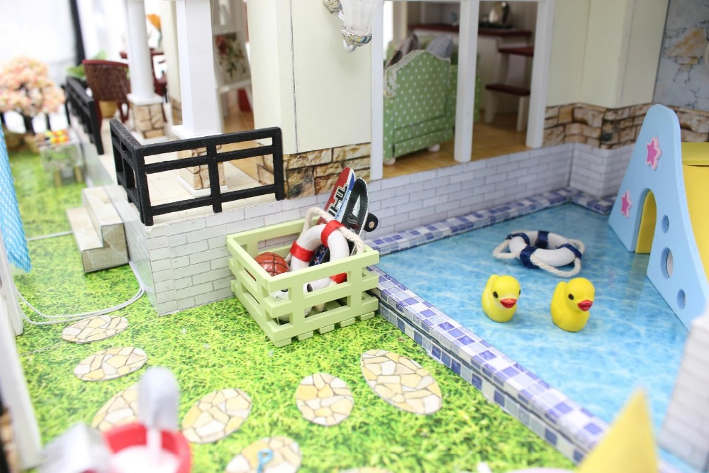 Perfect Hour Large DIY Wood Doll House Euro Style 3D Miniature  Lights+Furnitures Building Model Homeu0026Store Decoration Adult Toy In Doll  Houses From Toys ...
