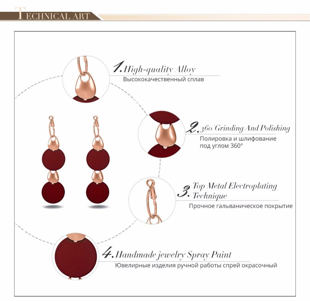 Viennois Fashion Jewelry Blue & Red Dangle Earrings for Woman Rose Gold Color Earrings Trendy Long Round Earrings 1