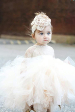 2018 Vintage Lovely Ivory Baby Infant Toddler Baptism Clothes Flower Girl Dresses With Long Sleeves Lace Tutu Ball Gowns Cheap bling beading white ivory lace appliques long sleeves flower girl dresses lovely kids wedding birthday party ball gowns