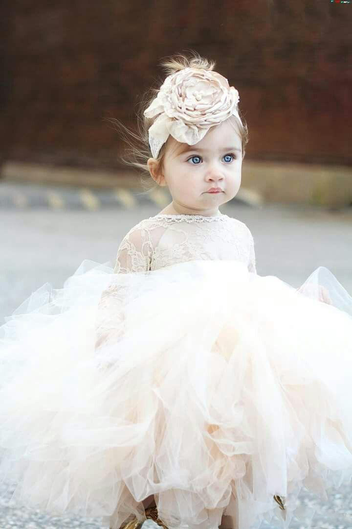 2018 Vintage Lovely Ivory Baby Infant Toddler Baptism Clothes   Flower     Girl     Dresses   With Long Sleeves Lace Tutu Ball Gowns Cheap