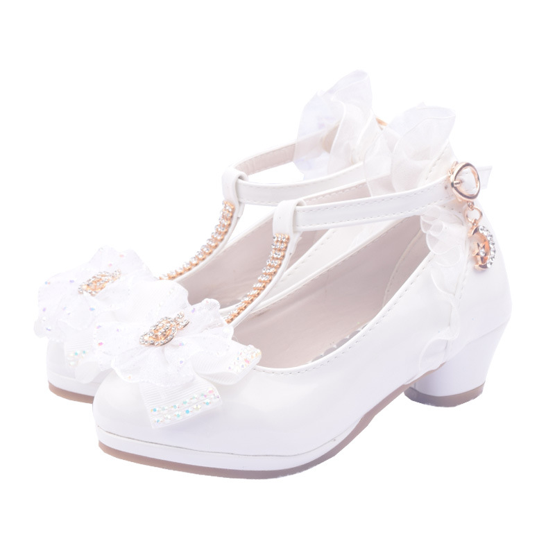 Fashion Kids Flower Diamond Girls Shoes For Party And Wedding Children'S Leather Shoes Dance High-Heeled Prinsessen School Shoes