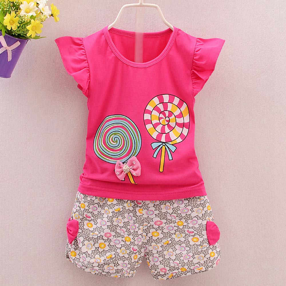 Baby Girl Clothes 2019 Hot Summer New Girls' Clothing Sets Kids Bay clothes Toddler Chiffon bowknot coat+Pants 1-4Y#p5