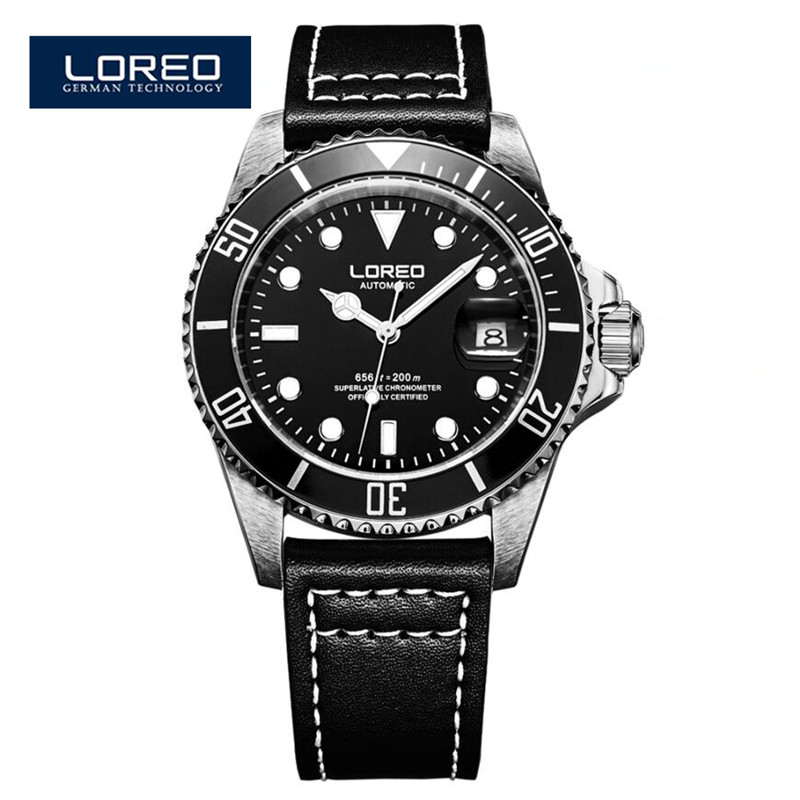 LOREO Fashion Casual Mens Watches Leather Analog Auto Day Dial Display Automatic Mechanical Watch Alibaba Christmas Gift A04 mce fashion scale gear dial analog automatic mechanical watch