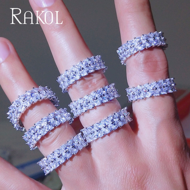 RAKOL Top Quality Micro Paved Cubic Zircon White Color Wedding Engagement Rings For Women Shiny Cut Crystal Bridals Jewelry