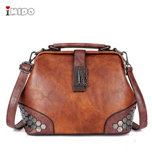 купить Women's PU Leather Vintage Rivets Handbag Doctor Shoulder Bag Medium New Fashion Designer Female Crossbody Chain Lock Bag Purse дешево