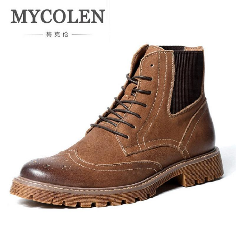 b80f2b5f2 MYCOLEN Martin Boots Fashion Bullock Carved Lace Up Winter Men Shoes ...