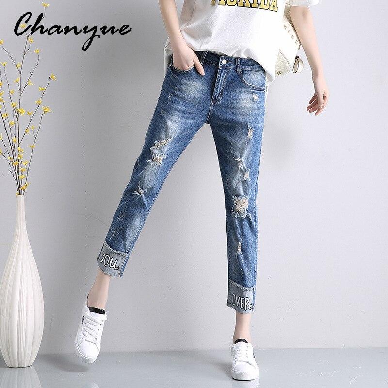 Molto Chanyue Donna Jeans Strappati Blu Boyfriend Jeans Per Le Donne  MQ07