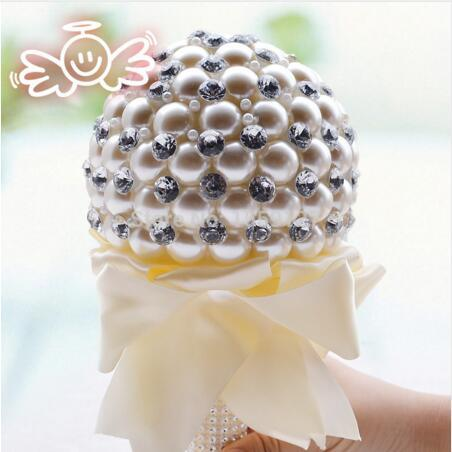 Gorgeous 2016 Ivory Pearl Wedding Bouquets Buque De Noiva Crystal Ball-Flower Wedding Accessories Decorations