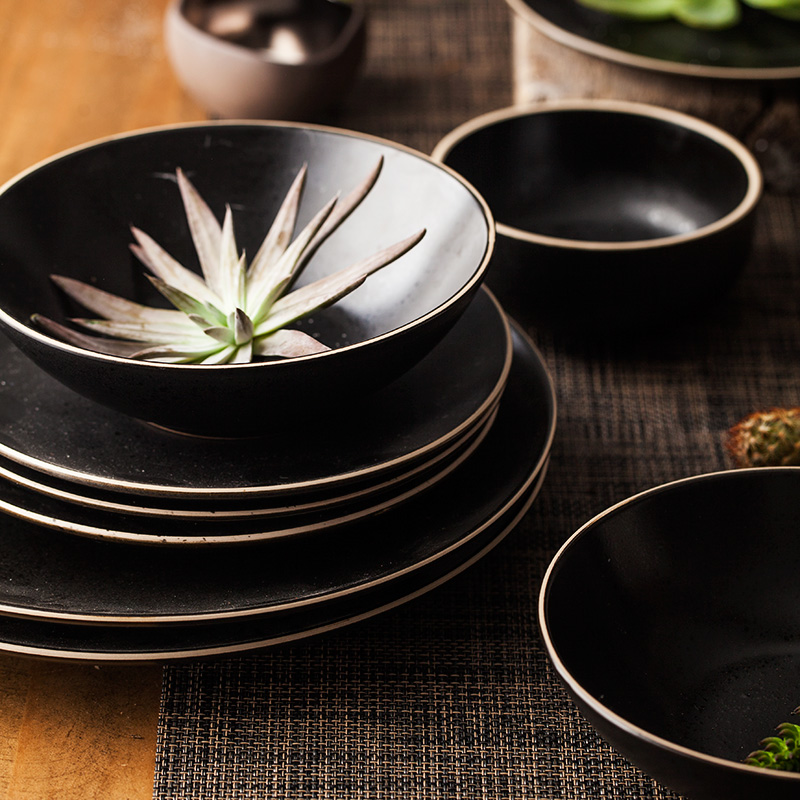10 Inch Ceramic Creative Simple Dishes Round Porcelain Dinner Plates Black Pigmented Breakfast Dessert Dish High Quality Plate-in Dishes \u0026 Plates from Home ... : black dinner plates set - pezcame.com