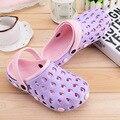 Mulher verão Mula Entope Luz Doce Cor Jardim Sapatos Para Mulheres Chinelos de Praia Sapatos de Mulher 36-40