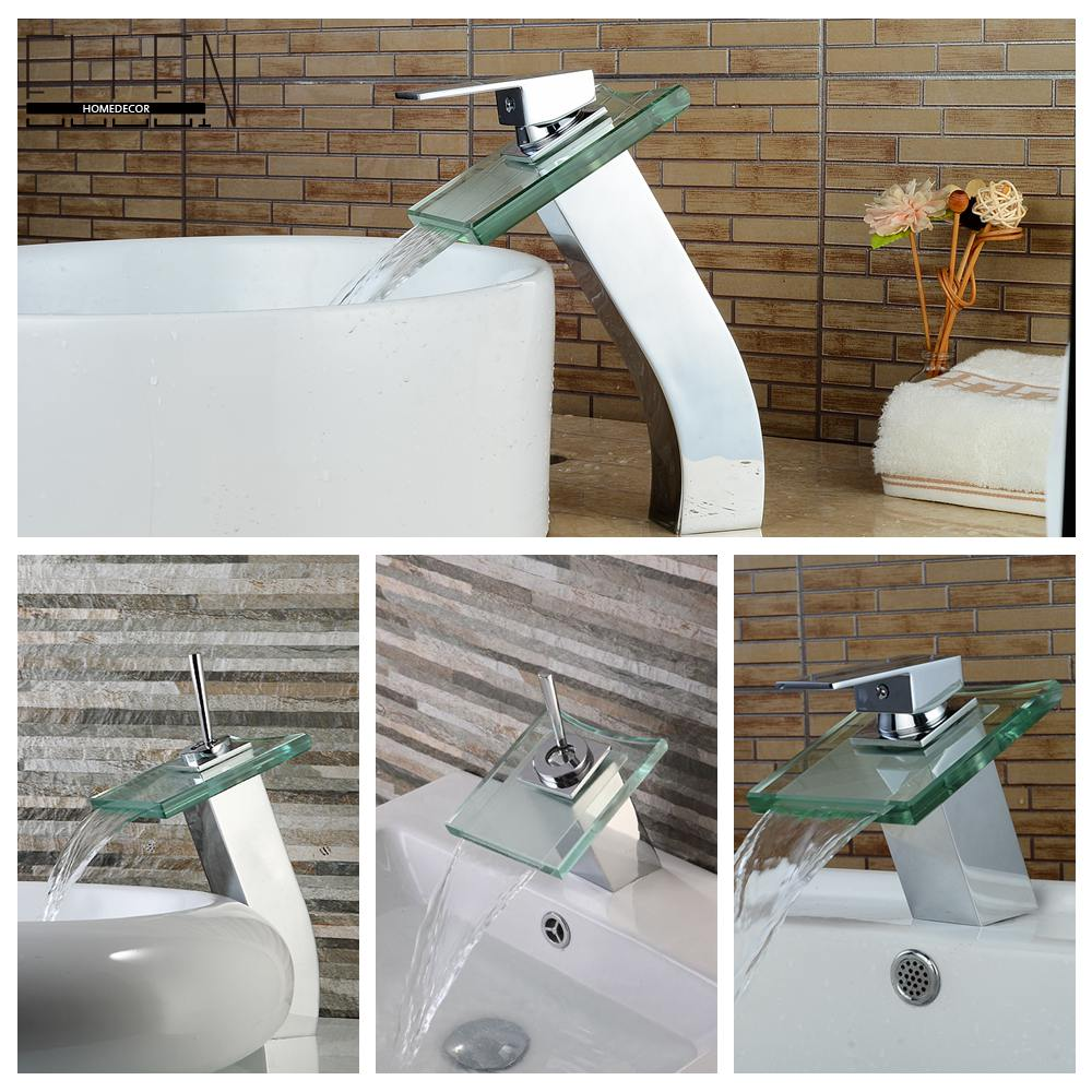 ФОТО Contemporary bathroom faucet square tall faucets glass spout waterfall water tap deck mounted basin mixer