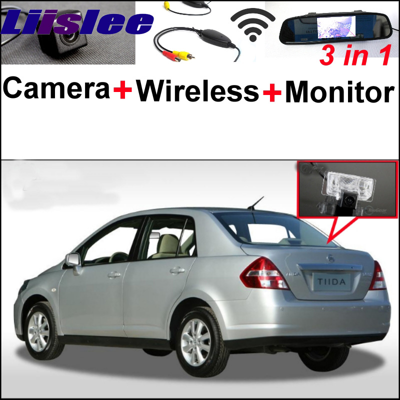 3in1 Special Camera + Wireless Receiver + Mirror Monitor Parking System For Nissan Tiida Versa Latio Trazo C11 4D Sedan2004~2012 car armrest central store content storage box for nissan tiida latio versa dodge trazo 1st generation c11 2004 2012