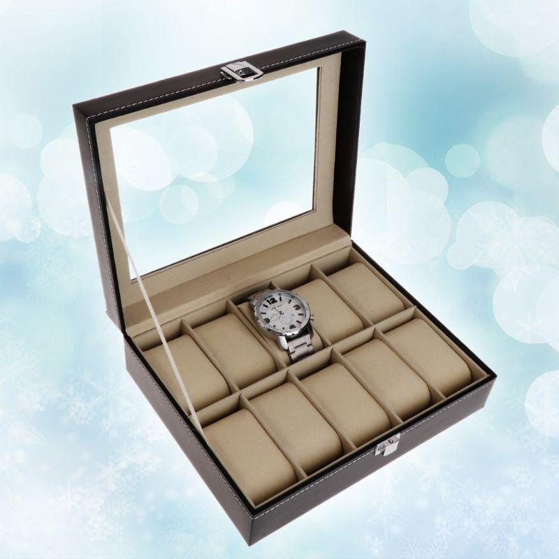 Watch Box Faux Leather Storage Case Gift Jewelry Display Boxes High End Faux Leather Organizer 10 Slots Grids Watches