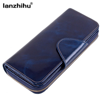 2016 Genuine Leather Wallets for Women Luxury Brand Long Large Capacity Cowhide Purse Card Holder Business Clutch Wholesale