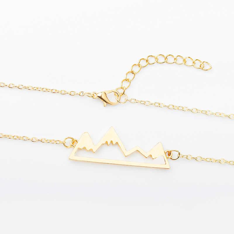 Geometric Hollow Snow Mountain Peak Pendants Necklace Women Jewelry Gold Silver Black Color Short Clavicle Chain Accessories