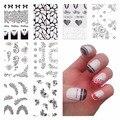 Negro Cordón de La Flor Pegatinas de Uñas Beauty Nail Art Agua Decal Sticker Decoraciones De Uñas Accesorios