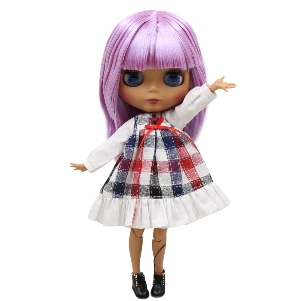 factory blyth doll 1/6 bjd joint body dark skin matte face, oily purple hair, naked doll 30cm BL2137-in Dolls from Toys & Hobbies    1