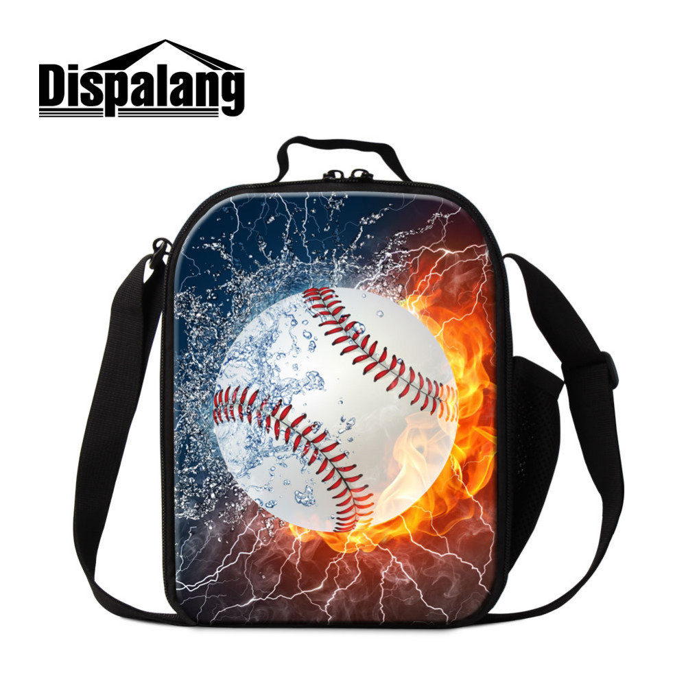 Dispalang Baseball Print Kids Insulated Cooler Lunch Bag Portable Thermal Food Picnic Lunch Bags Small Women Men Lunch Box Tote