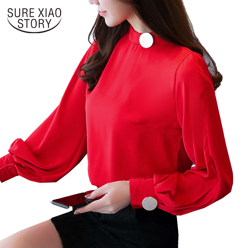 2018 New Fashion stand collar long Sleeves Chiffon Women   Blouse     shirt   lantern sleeve Casual women's clothing tops blusas C923 30