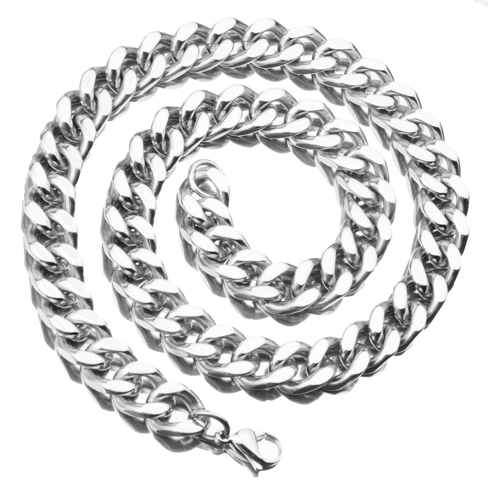 Cuban Curb Chain Men's Women's Daily Fashion Jewelry 13mm 7-40Inch Stainless Steel Silver Color Necklace Or Bracelet Xmas Gift