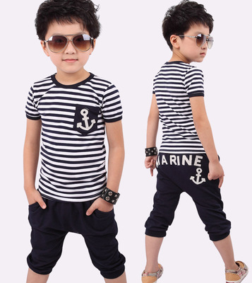 2016 Selling New Spring Kids Clothes Navy Long Sleeve Pullover Striped Sports Suit Casual Boys Clothing Set For 2-7T retail brand print boys clothing set spring autumn new kids sports suit long sleeve top