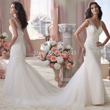 Free Shipping Lace Wedding Dresses Mermaid Trumpet Sheer Sweetheart Applique Beads Sequin Bridal Gowns yk1A322