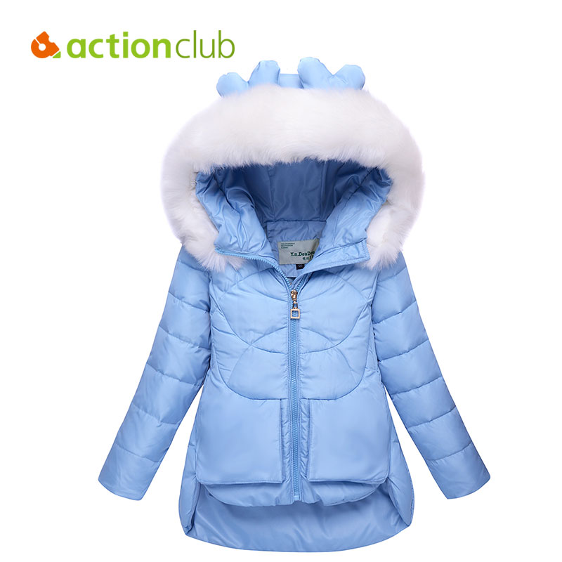 ФОТО Cute Casual Girls Overcoat Kids Fashion Winter Outwear Hooded Long Warm Children Clothing Cartoon Down Windproof Jacket KU1411