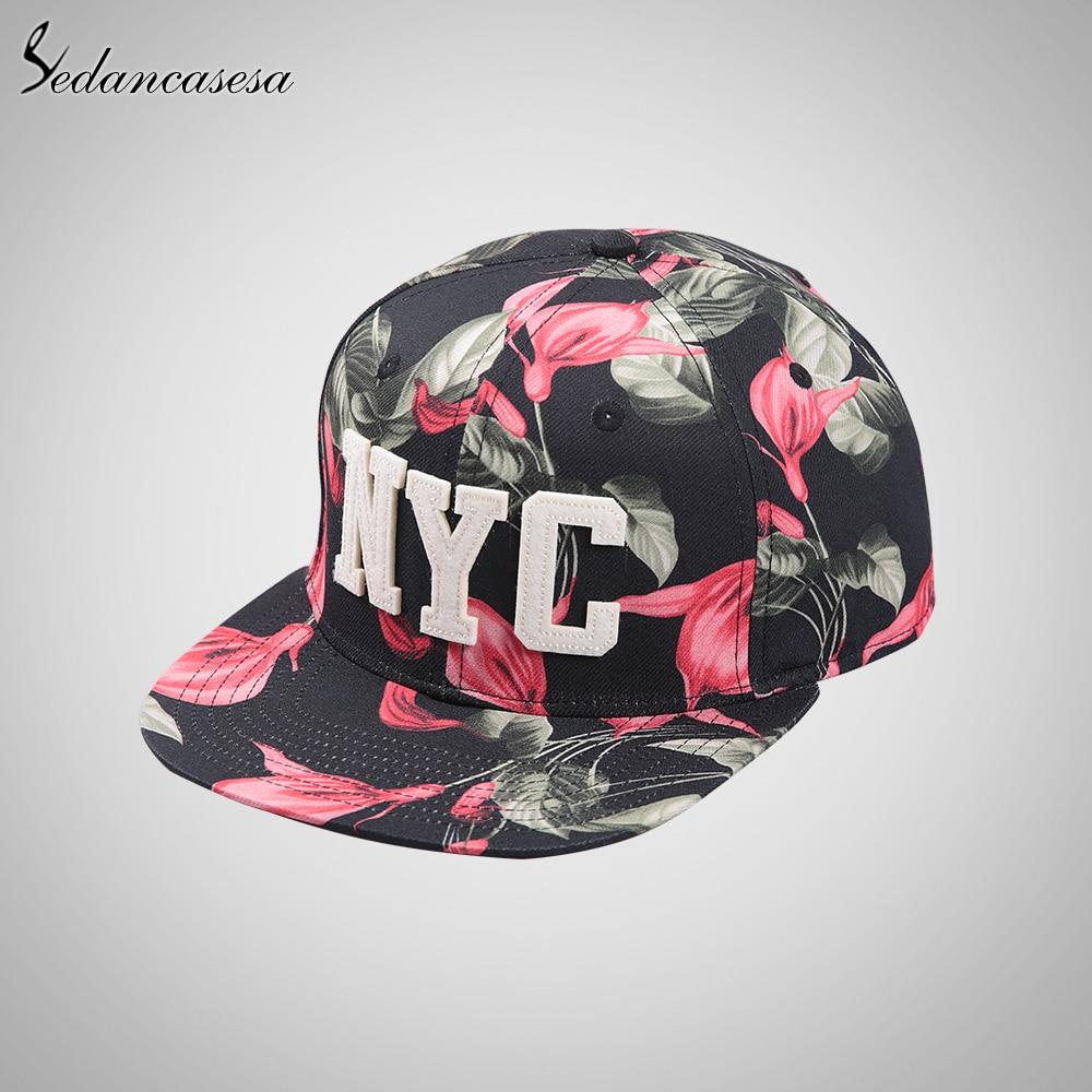 Moda SnapBack Cap diseño flor impresa letra NYC gorras de béisbol para las  mujeres ajustable verano parasol protección UV 6 panel en Gorras de béisbol  de ... eac6d2bb182