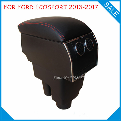8pcs USB Armrest FOR FORD ECOSPORT 2013-2017, All-IN-ONE Car center arm rest console box with hidden cup holder Car Accessories