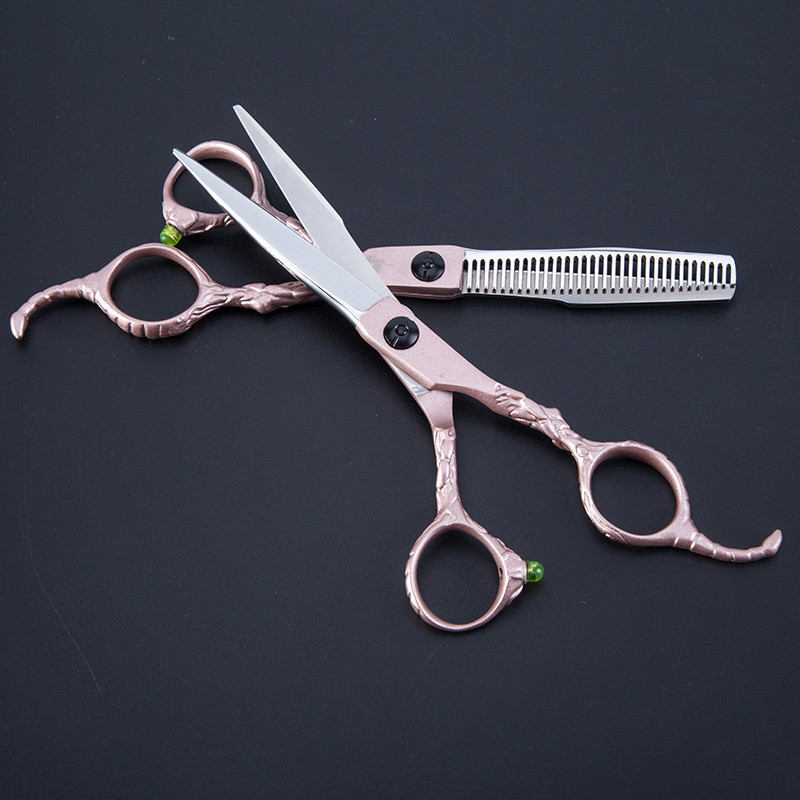 Professional Japan 440C Gold Scorpion Hair Scissors Bag Set Cutting Scissor Barber Thinning Shears Scisors Hairdressing Scissors
