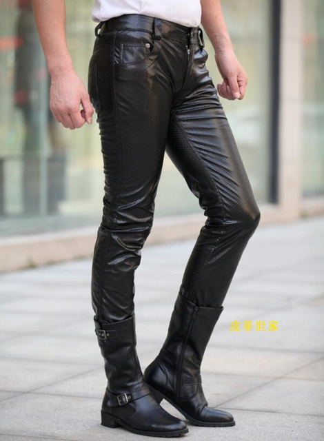4509a5f635 Hot 2019 New Men Black Leather Pants PU Material Black Color trousers  Motorcycle Skinny Faux Leather Man Pants 29-39