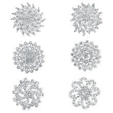 Brooch Pins Rhinestones Large-Size WEIMANJINGDIAN for Wedding-Bouquets Set-Of-6-Pc Clear