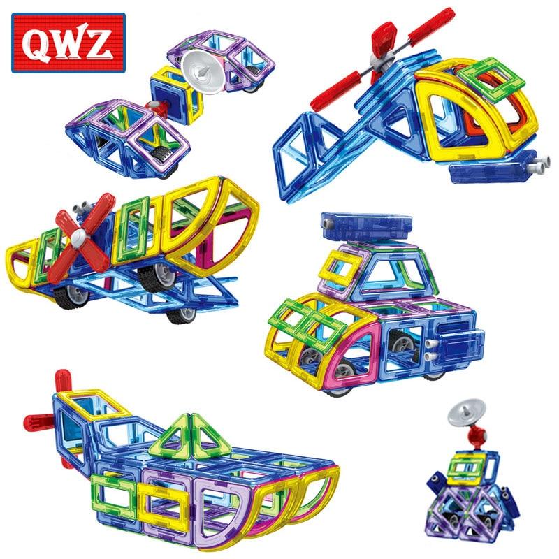 QWZ New Magnetic Designer Educational Building Blocks Police Series Aircraft 70pcs Set Assemble Bricks Toys Kids