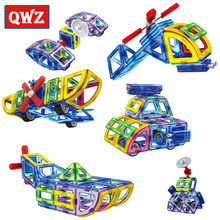 QWZ New Magnetic Designer Educational Building Blocks Police Series Aircraft 70pcs/Set Assemble Bricks Toys Kids Christmas Gifts(China)