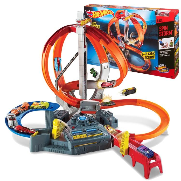 Hot Wheels 2017 Скорость циклотрон orbit игрушки электрические двухканального передатчик детские игрушки для детей Juguetes подарок для дети ...